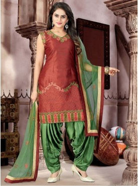 Roykals Textile Mustard Color Malban Satin Letest Full Stitch Salwar Suits