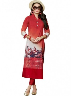 Viva N Diva Red Colored Linen Kurti