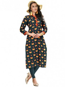 Viva N Diva Teal  Colored Linen Kurti