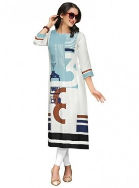 Viva N Diva Off White & Sky Colored Dobby cotton Kurti