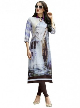 Viva N Diva Light Grey & purple Colored Dobby cotton Kurti