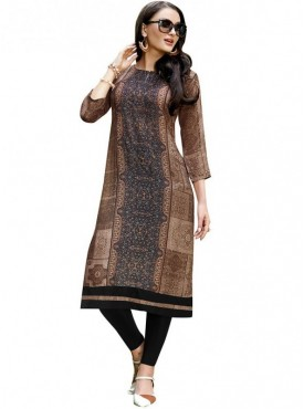 Viva N Diva Brown Colored Linen Kurti