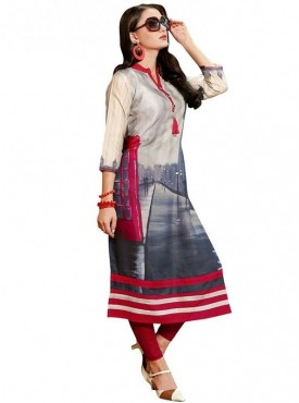 Viva N Diva Grey & Red Colored Linen Kurti