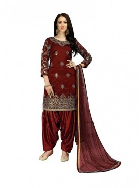 Viva N Diva Maroon Colored Taffeta Silk Salwar Suit