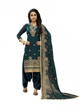 Viva N Diva Teal Colored Faux Georgette Salwar Suit