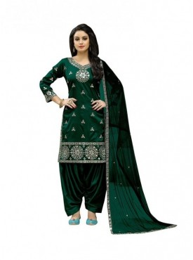 Viva N Diva Bottle Green Colored Taffeta Silk Salwar Suit