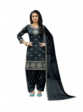 Viva N Diva Grey Colored Taffeta Silk Salwar Suit