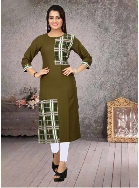 Roykals Textile Mehendi Color Heavy Rayon Printed Exclusive Readymade Kurti