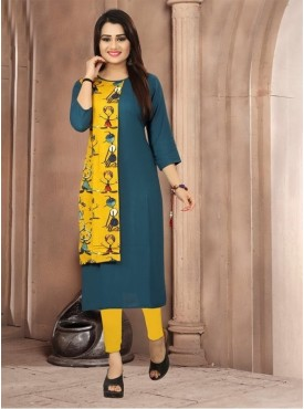Roykals Textile Dark Green Color Heavy Rayon Printed Exclusive Readymade Kurti