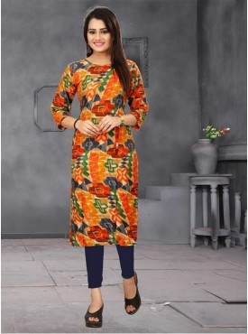Roykals Textile Orange Color Heavy Rayon Printed Exclusive Readymade Kurti
