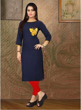 Roykals Textile Nevy Blue Color Heavy Rayon Printed Exclusive Readymade Kurti