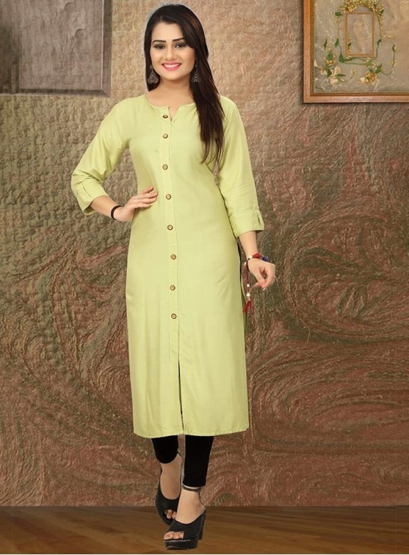 Roykals Textile Pista Green Color Heavy Rayon Printed Exclusive Readymade Kurti