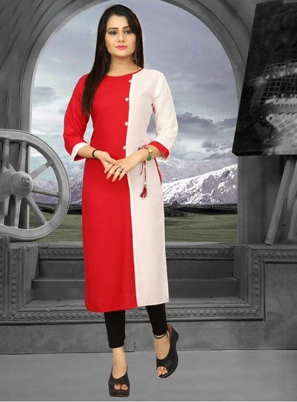 Roykals Textile Red Color Heavy Rayon Printed Exclusive Readymade Kurti