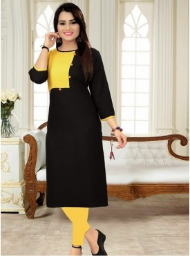 Roykals Textile Black Color Heavy Rayon Printed Exclusive Readymade Kurti