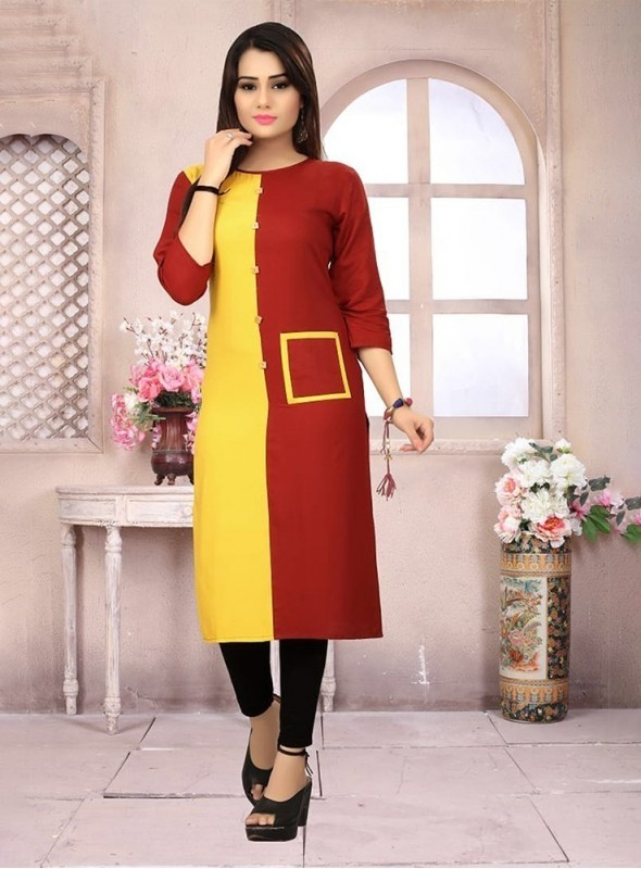 Roykals Textile Yellow Color Heavy Rayon Printed Exclusive Readymade Kurti