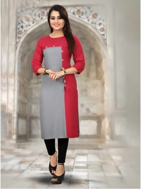 Roykals Textile Pink Color Heavy Rayon Printed Exclusive Readymade Kurti