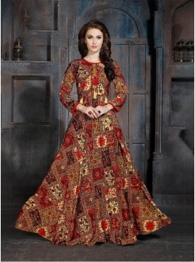 Roykals Textile Maroon Color Heavy Rayon Printed Exclusive Readymade Kurti