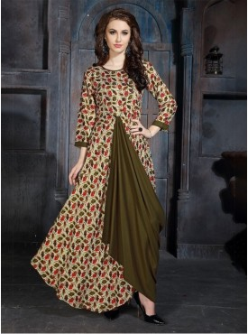 Roykals Textile Multi Color Heavy Rayon Printed Exclusive Readymade Kurti