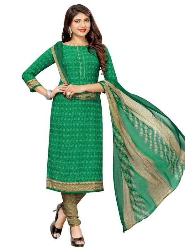 Umang NX Green Colored Soft Crepe Printed Unstitched Salwar Suits