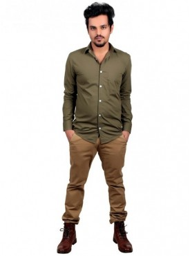 Vida Loca Plain Dark Green Color Cotton Casual Men's Shirt
