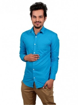 Vida Loca Plain Dark Sky Blue Color Cotton Casual Men's Shirt