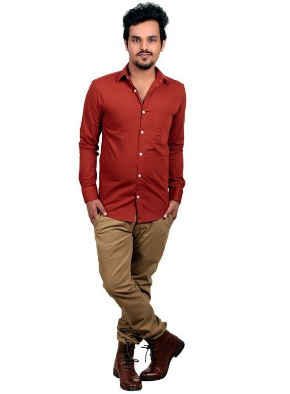 Vida Loca Plain Light Chocolate Brown Color Cotton Casual Men's Shirt