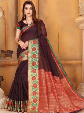 Roykals Textile Cofee Color Traditional Cotton Jequred Saree