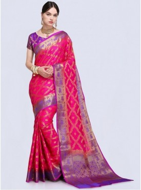 Roykals Textile Pink Color Designer Silk Saree