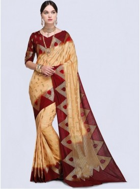 Roykals Textile Cream Color Designer Silk Saree