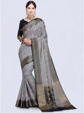 Roykals Textile Grey Color Designer Silk Saree