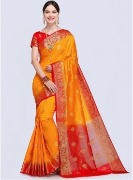 Roykals Textile Orange Color Designer Silk Saree