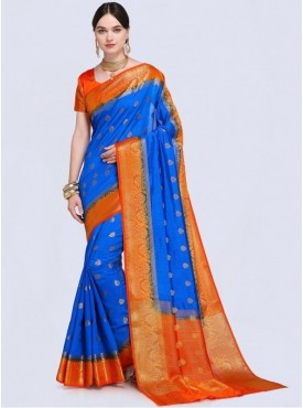 Roykals Textile Blue Color Designer Silk Saree