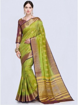 Roykals Textile Green Color Designer Silk Saree