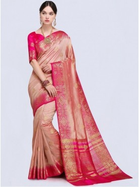Roykals Textile Peach Color Designer Silk Saree