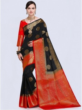 Roykals Textile Black Color Designer Silk Saree