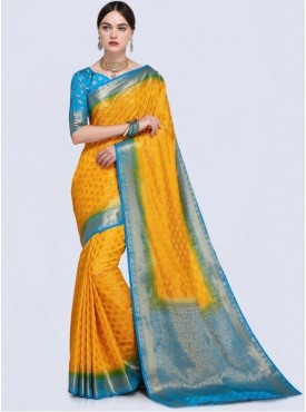 Roykals Textile Yellow Color Designer Silk Saree