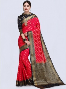 Roykals Textile Red Color Designer Silk Saree