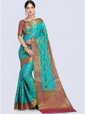 Roykals Textile Aqua Green Color Designer Silk Saree