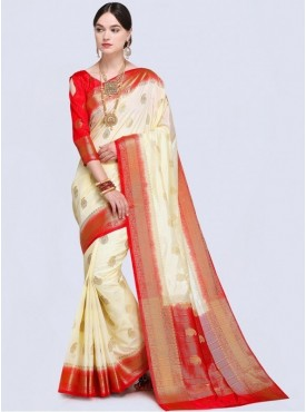Roykals Textile White Color Designer Silk Saree