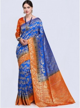 Roykals Textile Blue Color Designer Silk Blend Traditional Saree