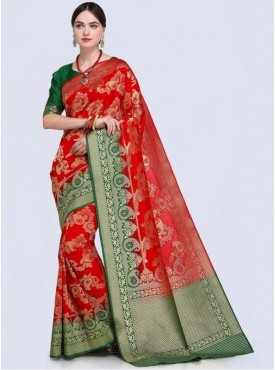 Roykals Textile Red Color Designer Silk Blend Traditional Saree