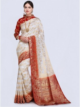 Roykals Textile White Color Designer Silk Blend Traditional Saree