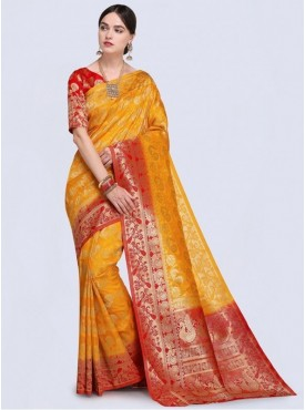 Roykals Textile Yellow Color Designer Silk Blend Traditional Saree