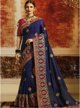 Roykals Textile Nevy Blue Color Exclusive Havy Designer Saree