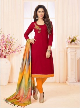 Roykals Textile Red Color Letest  Cotton Salwar Suits