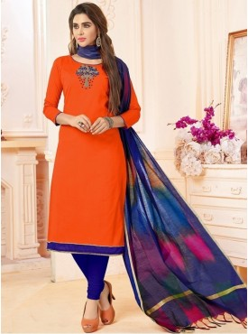 Roykals Textile Orange Color Letest  Cotton Salwar Suits