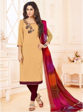 Roykals Textile Cream Color Letest  Cotton Salwar Suits