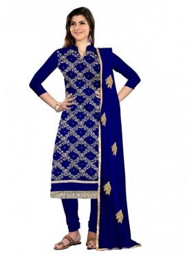 Aasvaa Blue Color Chanderi Designer Salwar Suit
