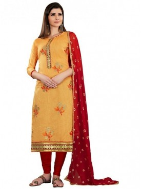 Aasvaa Light Orange Color Chanderi Designer Salwar Suit