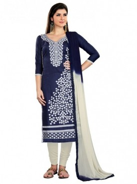 Aasvaa Blue Color Cambric Cotton Designer Salwar Suit